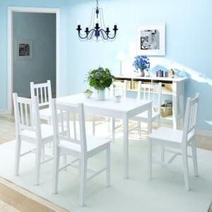 Set masă și scaune din lemn de pin, 7 piese, alb