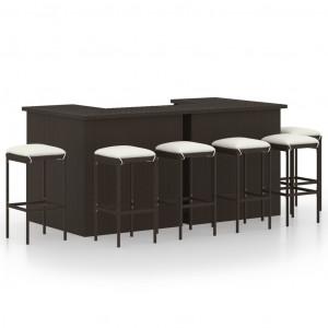Set mobilier bar de grădină cu perne, 8 piese, maro, poliratan