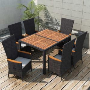 Set mobilier de exterior 7 piese negru poliratan lemn de acacia
