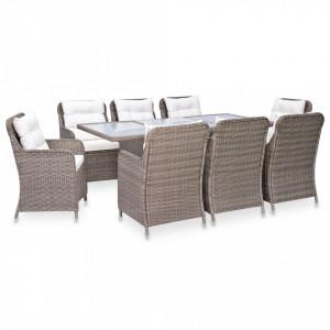 Set mobilier de exterior, 9 piese, maro, poliratan