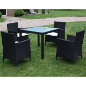Set mobilier de exterior cu perne, 5 piese, negru, poliratan