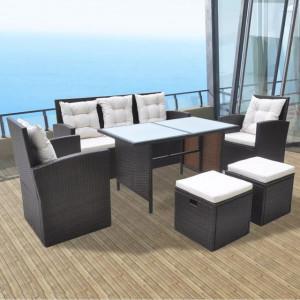 Set mobilier de exterior cu perne, 6 piese, maro, poliratan