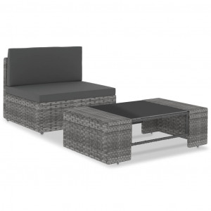 Set mobilier de grădină, 2 piese, gri, poliratan