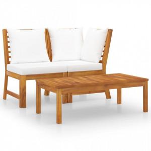 Set mobilier de grădină, 3 piese, perne crem, lemn masiv acacia
