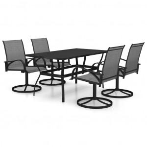 Set mobilier de grădină, 5 piese, textilenă și oțel