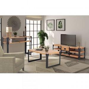 Set mobilier de sufragerie, 3 piese, lemn masiv de acacia