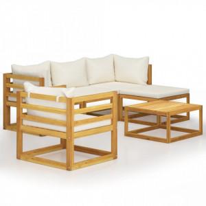 Set mobilier grădină cu perne, 6 piese, crem, lemn masiv acacia