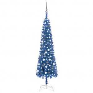 Set pom de Crăciun subțire cu LED-uri/globuri albastru 210 cm
