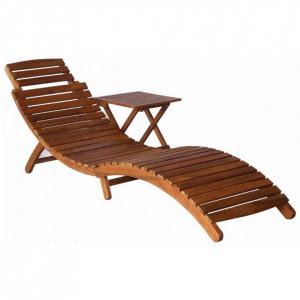 Șezlong cu masă, maro, lemn masiv de acacia