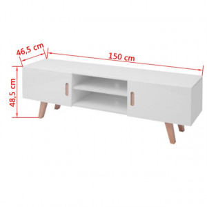 Stativ TV, alb lucios, 150 x 35 x 48,5 cm, MDF