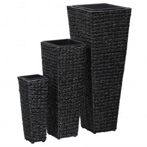 Straturi înălțate de grădină, 3 buc., negru, zambilă de apă