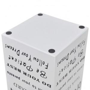 Suport pătrat pentru depozitare umbrelă și baston, oțel, 48,5 cm, alb