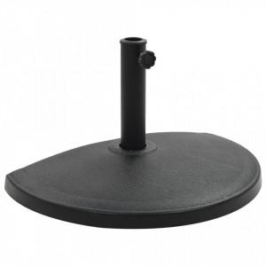 Suport umbrelă de soare, negru, 15 kg, polirășină, semi-rotund