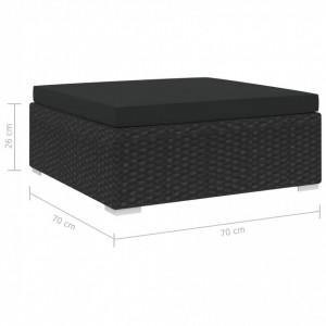 Taburet modular, 1 buc., negru, poliratan, cu pernă