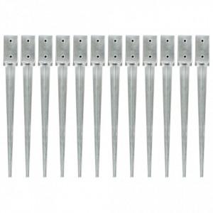 Țăruși de sol, 12 buc., argintiu, 7x7x75 cm, oțel galvanizat