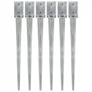Țăruși de sol, 6 buc., argintiu, 9x9x90 cm, oțel galvanizat