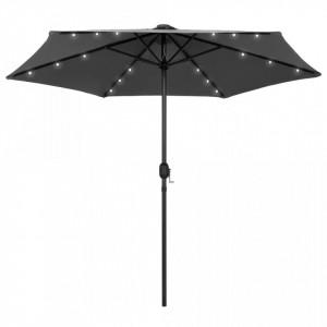 Umbrelă de soare cu LED și stâlp aluminiu, antracit, 270 cm