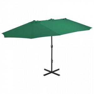Umbrelă de soare de exterior, stâlp aluminiu, verde, 460x270 cm