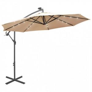 Umbrelă soare suspendată, iluminare LED, stâlp metalic 300 cm