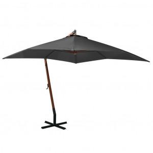 Umbrelă suspendată cu stâlp, antracit, 3x3 m, lemn masiv brad