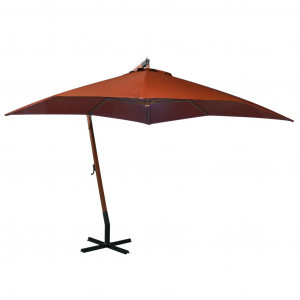 Umbrelă suspendată cu stâlp, cărămiziu, 3x3 m, lemn masiv brad