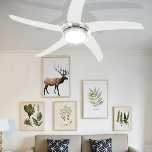 Ventilator tavan decorativ cu iluminare, 128 cm, alb