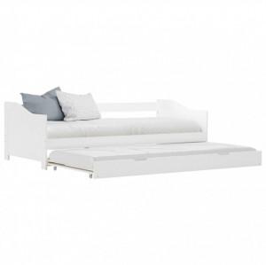 Cadru pat canapea, extensibil, alb, 90 x 200 cm, lemn de pin