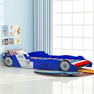 Pat pentru copii mașină de curse 90 x 200 cm, albastru