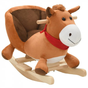 Balansoar animal, cal, cu spătar, pluș, 60 x 32 x 50 cm, maro