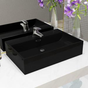 Bazin cu orificiu robinet ceramică, 60,5x42,5x14,5 cm, negru