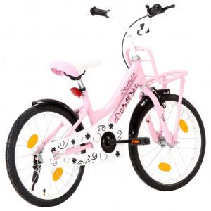 Bicicletă de copii cu suport frontal, roz și negru, 18 inci