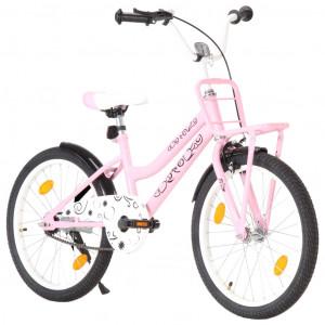Bicicletă de copii cu suport frontal, roz și negru, 20 inci