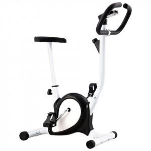 Bicicletă fitness cu curea de rezistență, negru