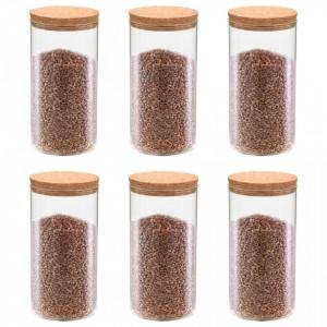 Borcane din sticlă depozitare, capac de plută, 6 buc., 1100 ml
