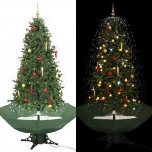 Brad de Crăciun cu ninsoare și bază umbrelă, verde, 190 cm