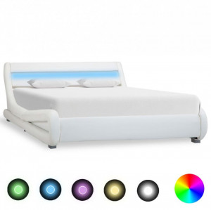 Cadru de pat cu LED, alb, 140 x 200 cm, piele artificială