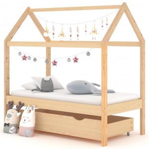 Cadru pat copii, cu un sertar, 70x140 cm, lemn masiv de pin