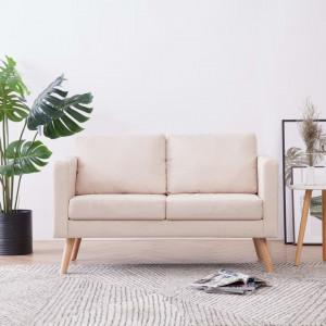 Canapea cu 2 locuri, crem, material textil