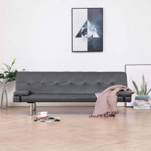 Canapea extensibilă cu două perne, gri, piele ecologică