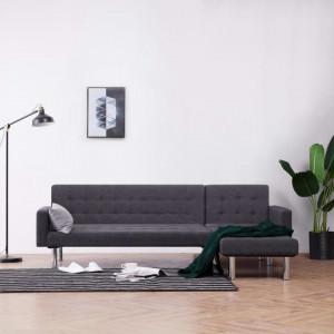 Canapea extensibilă în formă de L, gri închis, poliester