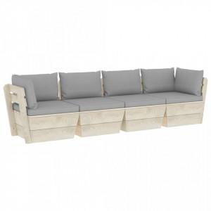 Canapea grădină din paleți, 4 locuri, cu perne, lemn de molid