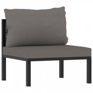 Canapea modulară de mijoc cu pernă, antracit, poliratan