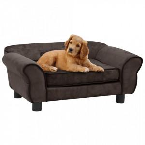 Canapea pentru câini, maro, 72 x 45 x 30 cm, pluș