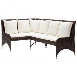 Canapele de colț pentru grădină, 2 buc., maro, poliratan