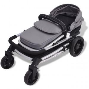 Căruț/cărucior pentru copii 2 în 1 din aluminiu, gri și negru