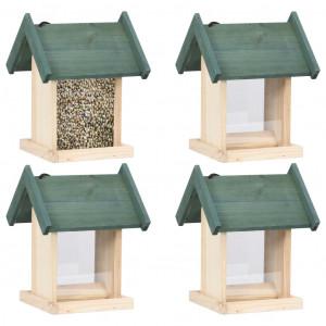 Căsuțe de păsărele, 4 buc., lemn de brad
