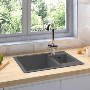 Chiuvetă de bucătărie dublă cu orificiu de preaplin, gri granit