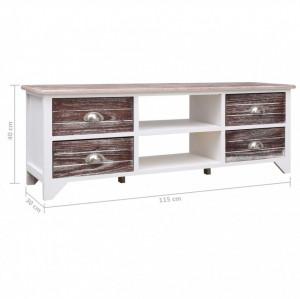 Comodă TV, alb și maro, 115 x 30 x 40 cm, lemn de paulownia