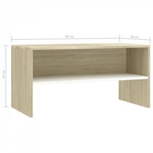 Comodă TV, alb și stejar Sonoma, 80 x 40 x 40 cm, PAL