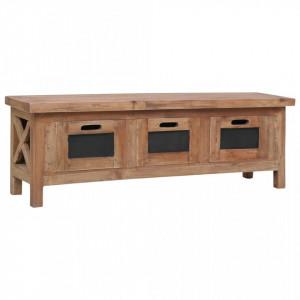Comodă TV cu 3 sertare, 120 x 30 x 40 cm, lemn masiv de mahon